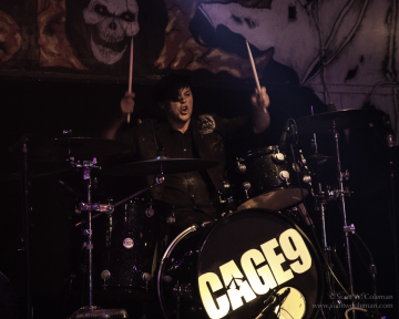 Drummer Brian Sumwalt, performing with Cage9 at Houston's BFE Rock Club in May, 2014.