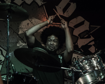 (hed) PE drummer Trauma, performing at Houston's Scout Bar on July 11, 2014.
