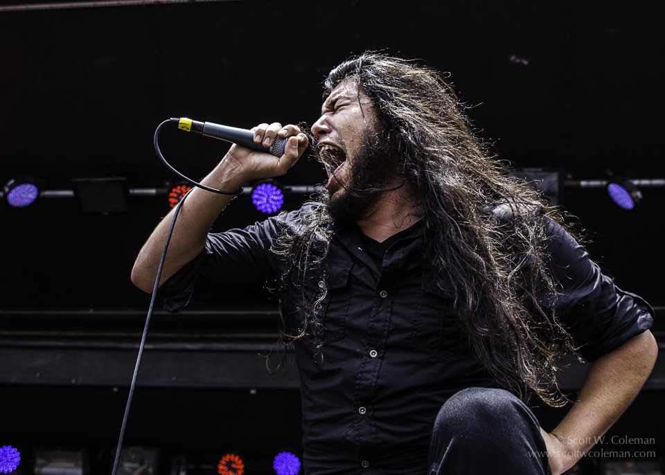 Shattered Sun vocalist Marcos Leal, performing at River City Rock Fest in June 2014.